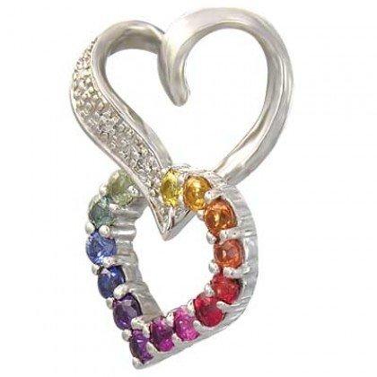 Rainbow Sapphire & Diamond Friendship Love Heart Pendant 925 Silver (0.61ct tw) SKU: 1602-925