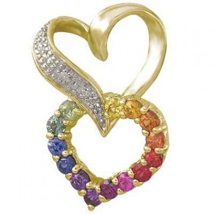 Rainbow Sapphire & Diamond Friendship Love Heart Pendant 14K YG (0.61ct tw) SKU: 1602-14K-YG
