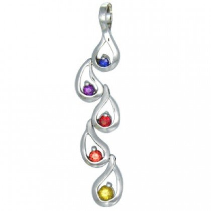 Rainbow Sapphire Journey Pendant 925 Sterling Silver (1/2ct tw) SKU: 392-925