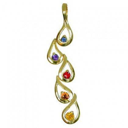 Rainbow Sapphire Journey Pendant 14K Yellow Gold (1/2ct tw) SKU: 392-14K-YG