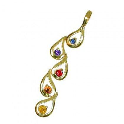 Rainbow Sapphire Journey Pendant 18K Yellow Gold (1/2ct tw) SKU: 392-18K-YG