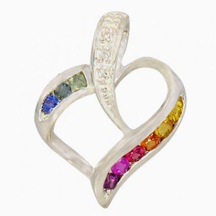 Rainbow Sapphire & Diamond Heart Shape Pendant 925 Sterling Silver (1/2ct tw) SKU: 1455-925