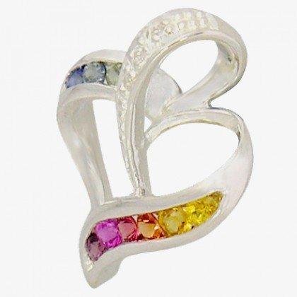 Rainbow Sapphire & Diamond Heart Shape Pendant 18K White Gold (1/2ct tw) SKU: 1455-18K-WG