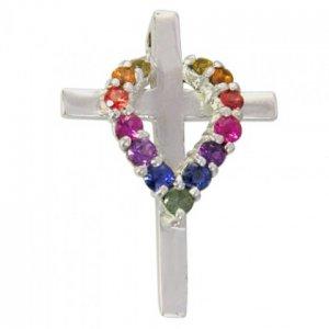 Rainbow Sapphire Heart on Cross Pendant 925 Sterling Silver (3/4ct tw) SKU: 1463-925