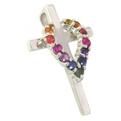 Rainbow Sapphire Heart on Cross Pendant 18K White Gold (3/4ct tw) SKU: 1463-18K-WG