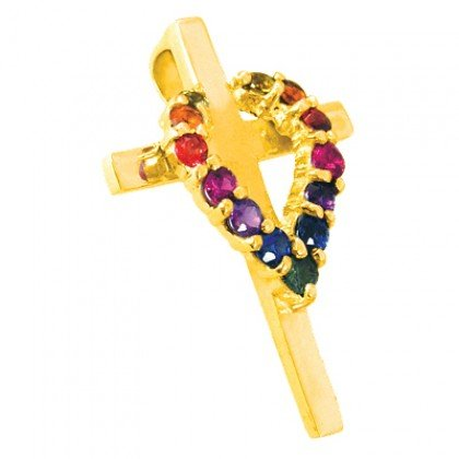 Rainbow Sapphire Heart on Cross Pendant 18K Yellow Gold (3/4ct tw) SKU: 1463-18K-YG