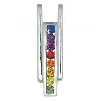 Rainbow Sapphire Bar Pendant 925 Sterling Silver (1.2ct tw) SKU: 309-925
