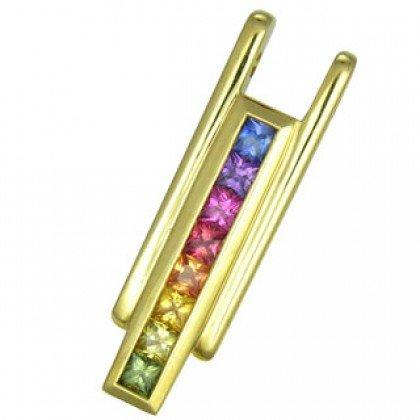 Rainbow Sapphire Bar Pendant 18K Yellow Gold (1.2ct tw) SKU: 309-18K-YG