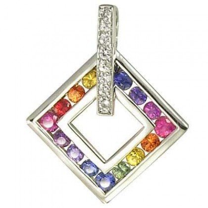 Rainbow Sapphire & Diamond Large Square Pendant 925 Sterling Silver (1.37ct tw) SKU: 431-925