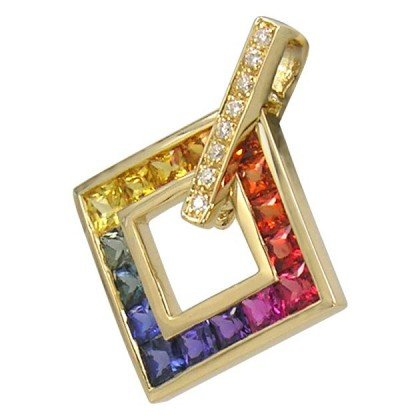 Rainbow Sapphire & Diamond Large Square Pendant 18K Yellow Gold (1.37ct tw) SKU: 431-18K-YG