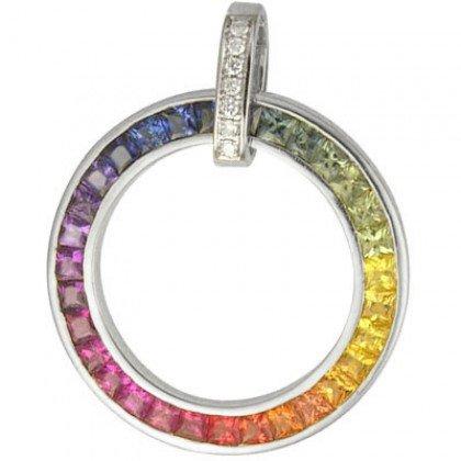 Rainbow Sapphire & Diamond Large Circle Pendant 14K White Gold (3.54ct tw) SKU: 1070-14K-WG