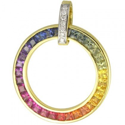 Rainbow Sapphire & Diamond Large Circle Pendant 14K Yellow Gold (3.54ct tw) SKU: 1070-14K-YG