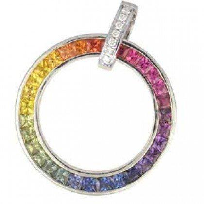 Rainbow Sapphire & Diamond Large Circle Pendant 18K White Gold (3.54ct tw) SKU: 1070-18K-WG