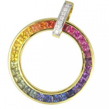 Rainbow Sapphire & Diamond Large Circle Pendant 18K Yellow Gold (3.54ct tw) SKU:1070-18K-YG