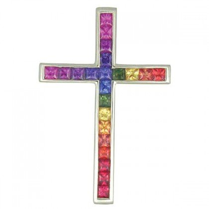 Rainbow Sapphire Religious Crucifix Cross Pendant 14K White Gold (5ct tw) SKU: 438-14K-WG