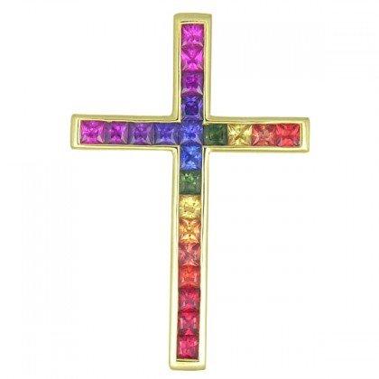 Rainbow Sapphire Religious Crucifix Cross Pendant 14K Yellow Gold (5ct tw) SKU: 438-14K-YG