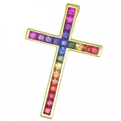Rainbow Sapphire Religious Crucifix Cross Pendant 18K Yellow Gold (5ct tw) SKU: 438-18K-YG