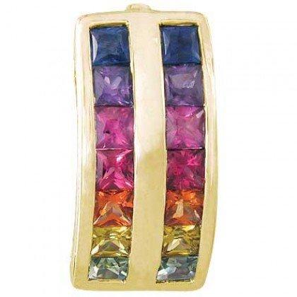 Rainbow Sapphire Double Row Pendant 14K Yellow Gold (2.3ct tw) SKU: 1504-14K-YG