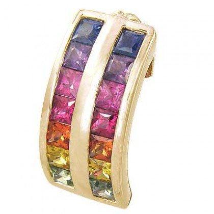 Rainbow Sapphire Double Row Pendant 18K Yellow Gold (2.3ct tw) SKU: 1504-18K-YG