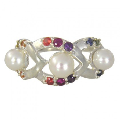 Rainbow Sapphire & Pearl Antique Style Ring 925 Sterling Silver (1/2ct tw) SKU: 1464-925