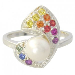 Rainbow Sapphire & Pearl Majestic Queens Ring 925 Sterling Silver (1/2ct tw) SKU: 1467-925