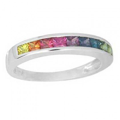 Multicolor Rainbow Sapphire Half Eternity Band Ring 14K White Gold (1ct tw) SKU: 892-14K-WG
