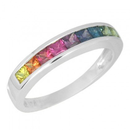 Multicolor Rainbow Sapphire Half Eternity Band Ring 18K White Gold (1ct tw) SKU: 892-18K-WG