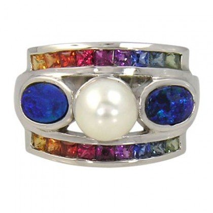 Rainbow Sapphire & Pearl with Australian Opal Ring 925 Sterling Silver (2.85ct tw) SKU: 1431-925