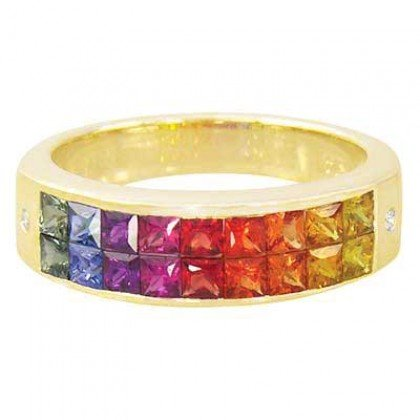 Multicolor Rainbow Sapphire & Diamond Invisible Set Ring 14K Yellow Gold (2.02ct tw) SKU: 435-14K-YG