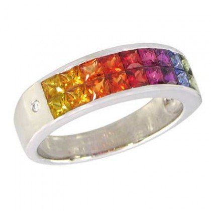 Multicolor Rainbow Sapphire & Diamond Invisible Set Ring 18K White Gold (2.02ct tw) SKU: 435-18K-WG