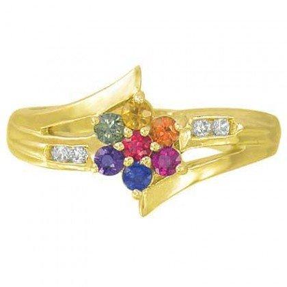 Multicolor Rainbow Sapphire & Diamond Fashion Ring 14K Yellow Gold (3/4ct tw) SKU: 1599-14K-YG