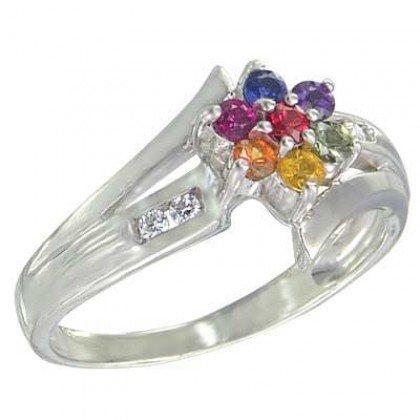 Multicolor Rainbow Sapphire & Diamond Fashion Ring 925 Sterling Silver (3/4ct tw) SKU: 1599-925