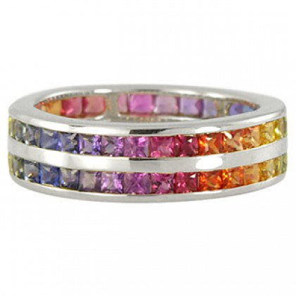 Multicolor Rainbow Sapphire Double Row Eternity Ring 14K White Gold (11ct tw) SKU: 459-14K-WG
