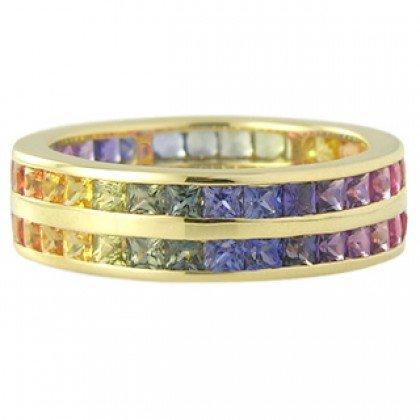 Multicolor Rainbow Sapphire Double Row Eternity Ring 14K Yellow Gold (11ct tw) SKU: 459-14K-YG