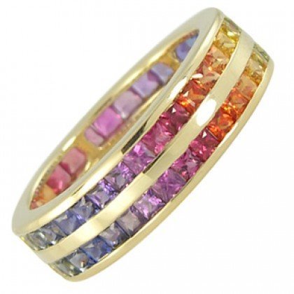 Multicolor Rainbow Sapphire Double Row Eternity Ring 18K Yellow Gold (11ct tw) SKU: 459-18K-YG