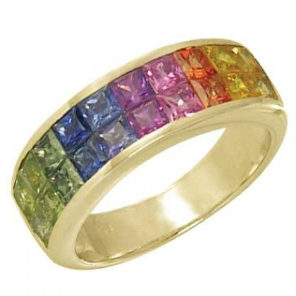 Multicolor Rainbow Sapphire Ring Invisible Set 18K Yellow Gold (3.4ct tw) SKU: 1125-18K-YG