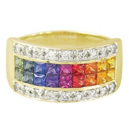Rainbow Sapphire & Diamond Invisible Set Band Ring 14K Yellow Gold (2.25ct tw) SKU: 1494-14K-YG
