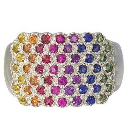 Rainbow Sapphire Womens Fashion Ring 925 Sterling Silver (3/4ct tw) SKU: 1597-925