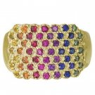 Rainbow Sapphire Womens Fashion Ring 14K Yellow Gold (3/4ct tw) SKU: 1597-14K-YG
