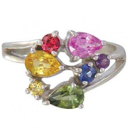 Rainbow Sapphire Multicolor Fireworks Ring 14K White Gold (1.5ct tw) SKU: 1601-14K-WG