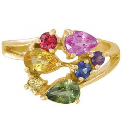 Rainbow Sapphire Multicolor Fireworks Ring 14K Yellow Gold (1.5ct tw) SKU: 1601-14K-YG