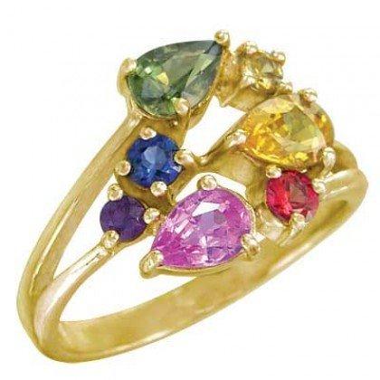 Rainbow Sapphire Multicolor Fireworks Ring 18K Yellow Gold (1.5ct tw) SKU: 1601-18K-YG