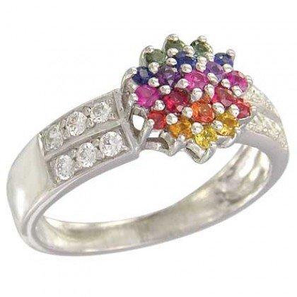 Rainbow Sapphire & Diamond Classic Womens Ring 925 Sterling Silver (0.69ct tw) SKU: 1592-925