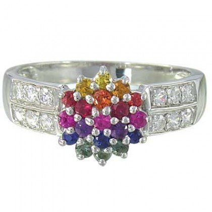 Rainbow Sapphire & Diamond Classic Womens Ring 14K White Gold (0.69ct tw) SKU: 1592-14K-WG