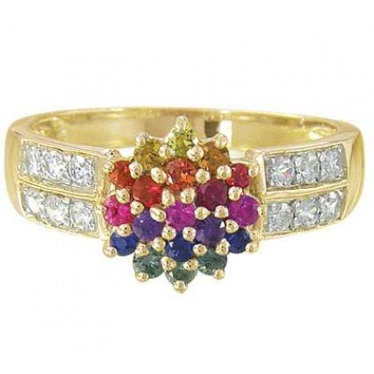 Rainbow Sapphire & Diamond Classic Womens Ring 14K Yellow Gold (0.69ct tw) SKU: 1592-14K-YG