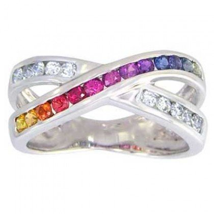 Multicolor Rainbow Sapphire & Diamond Crossover Ring 925 Sterling Silver (1.5ct tw) SKU: 398-925
