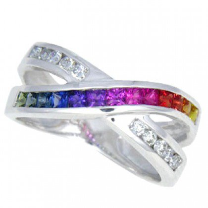 Multicolor Rainbow Sapphire & Diamond Crossover Ring 18K White Gold (1.5ct tw) SKU: 398-18K-WG