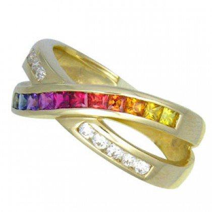 Multicolor Rainbow Sapphire & Diamond Crossover Ring 18K Yellow Gold (1.5ct tw) SKU: 398-18K-YG