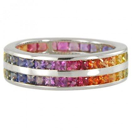 Multicolor Rainbow Sapphire Double Row Eternity Ring 14K White Gold (8ct tw) SKU: 387-14K-WG
