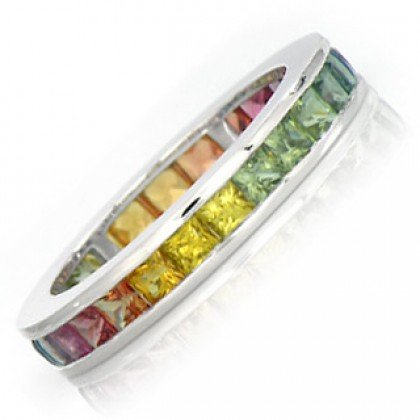 Multicolor Rainbow Sapphire Eternity Ring 18K White Gold (4ct tw) SKU: 894-18K-WG